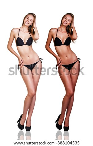Tan before and after. - stock photo