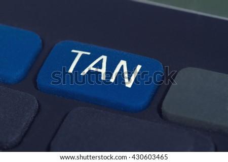 TAN Generator - Button in Detail - stock photo
