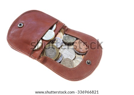 Tan leather coin purse with Sterling coins isolated on a white background. UK, Britain, Europe. - stock photo