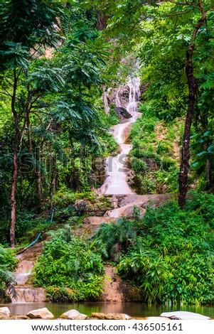 Tan Tong waterfall at Phayao province, Thailand - stock photo
