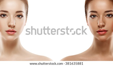 Tan woman before after skin portrait - stock photo