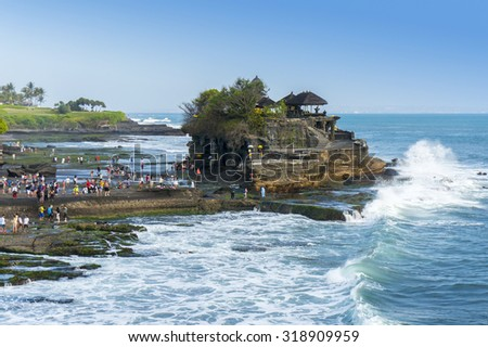 Tanah Lot temple at bali island indonesia                             - stock photo