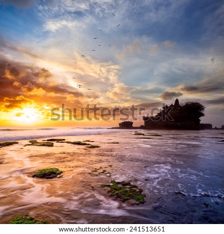 Tanah Lot temple at sunset, Bali Island, Indonesia - stock photo