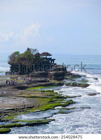 Tanah Lot temple, in Bali island, indonesia - stock photo