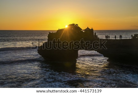 Tanah Lot temple in golden sunset, Bali , Indonesia - stock photo
