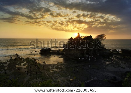 Tanah Lot temple  landmark of bali, Indonesia - stock photo