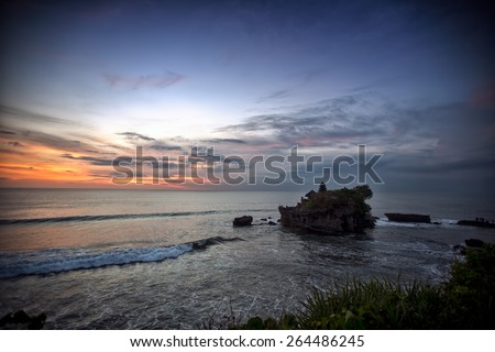 Tanah Lot Temple on Sea, Bali, Indonesia - stock photo