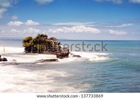 Tanah Lot Temple on Sea in Bali - stock photo