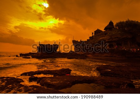 Tanah Lot Temple on Sea in Bali Island Indonesia. - stock photo