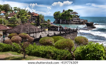 tanalot temple at sunset in eastern Bali, Indonesia - stock photo