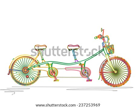 Tandem bicycle against white background - stock photo