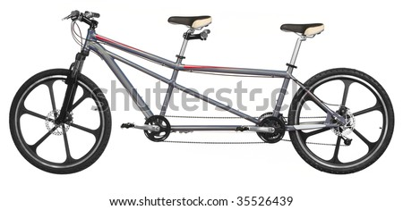 tandem bicycle over white background