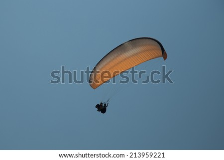 Tandem Paragliding at Oludeniz, Feyhiye, Turkey - stock photo