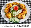 tandoori chicken tikka with salad and sauce - stock photo