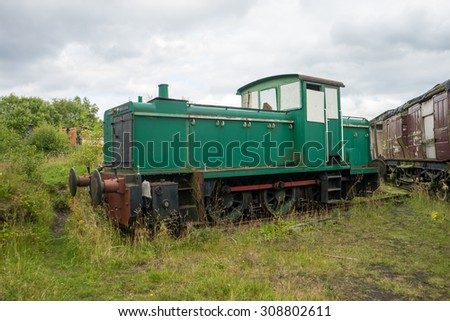 TANFIELD, UK, AUGUST 19th, 2015.  Old Diesel train in scrap yard at Tanfield Railway, the oldest railway in the world. - stock photo