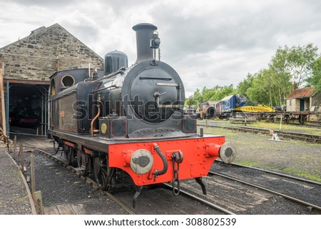 TANFIELD, UK, AUGUST 19th, 2015.  Steam train outside shed at Tanfield Railway, the oldest railway in the world.
