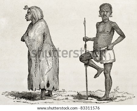 Tanganyika lake southern coast dwellers. Created by Burton, published on  Le Tour du Monde, Paris, 1860 - stock photo