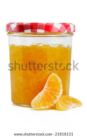 Tangerine and Orange jam isolated on white - stock photo