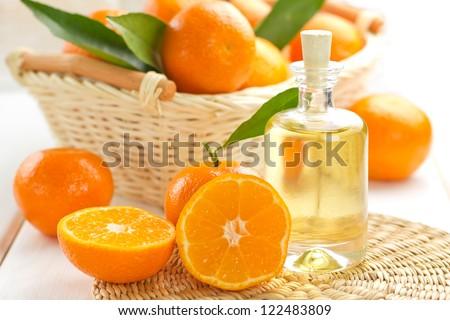 Tangerine essential oil - stock photo