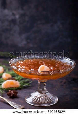 Tangerine jam.A traditional dessert at Christmas and New year. - stock photo