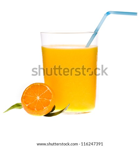 tangerine juice in a glass beaker, fresh tangerine, drinking straws, isolated on white background