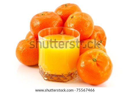 tangerine juice on a white background
