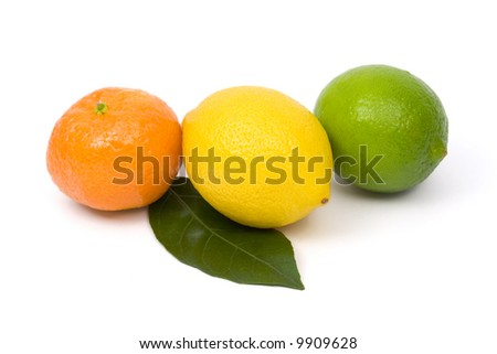 Tangerine, lemon and lime on white