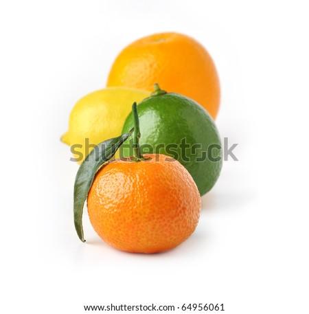 Tangerine, lemon, lime and orange isolated on white background - stock photo