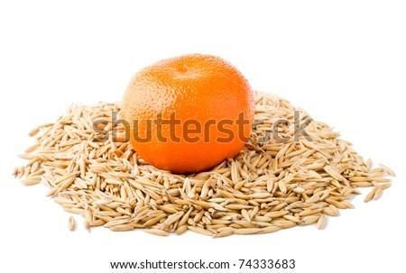 tangerine on cereal - stock photo