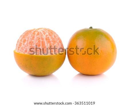 tangerine or mandarin fruit isolated on white background - stock photo