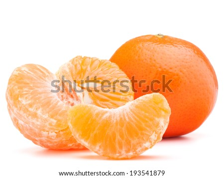 tangerine or mandarin fruit isolated on white background cutout - stock photo