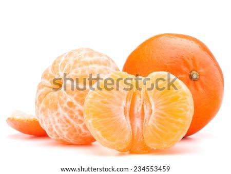 tangerine or mandarin fruit isolated on white background cutout - stock photo