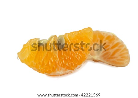 Tangerine segment isolated on white background