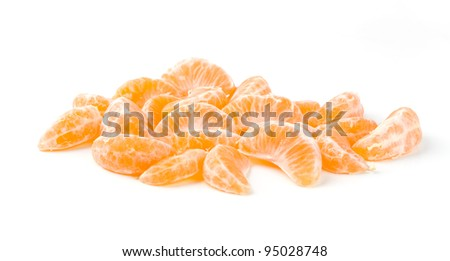 Tangerine Segments Isolated on White Background