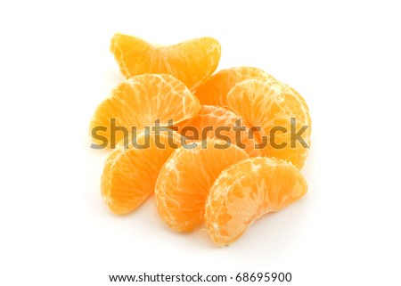 Tangerine slice (heap) on white background
