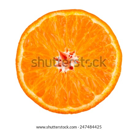 Tangerine slice isolated on white - stock photo