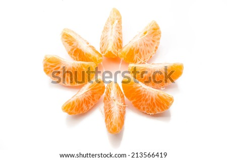 Tangerine slices laid out in a circle