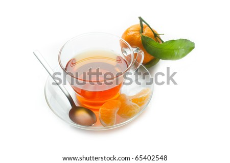 tangerine tea or punch on white