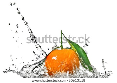 Tangerine with green leaves and water splash isolated on white - stock photo