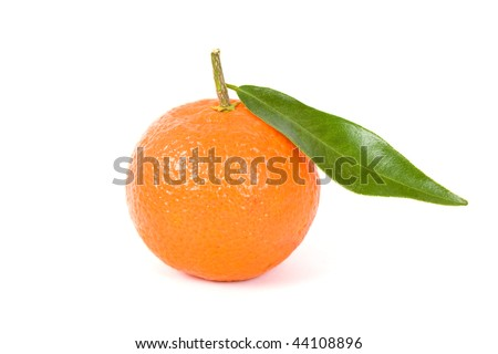 Tangerine with leaf on a white background