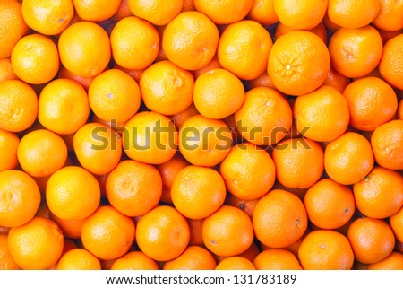 Tangerines as the background. Big bunch of ripe tangerines. - stock photo