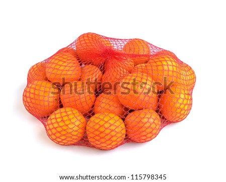 Tangerines in a bag isolated on a white background. - stock photo