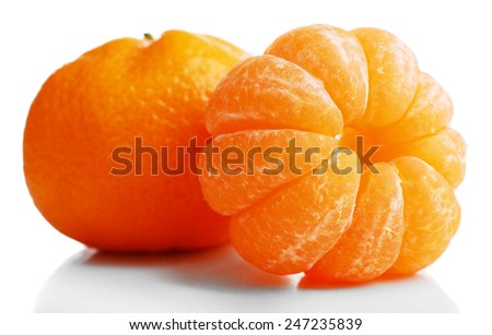 Tangerines isolated on white - stock photo