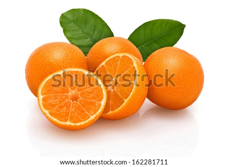 tangerines on a white background - stock photo
