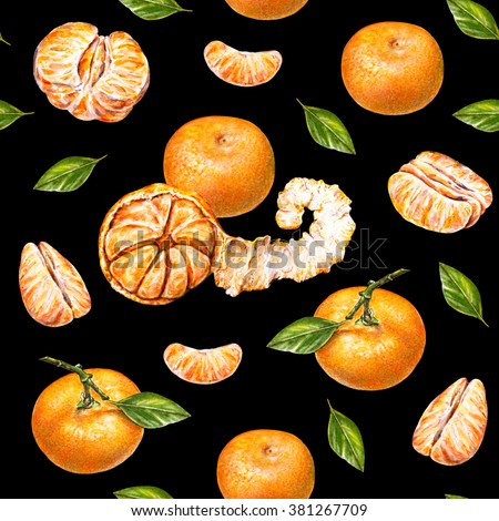 Tangerines. Watercolor drawing. Ripe peeled tangerine. Handwork. Tropical fruit. Healthy food. Seamless pattern for design. - stock photo