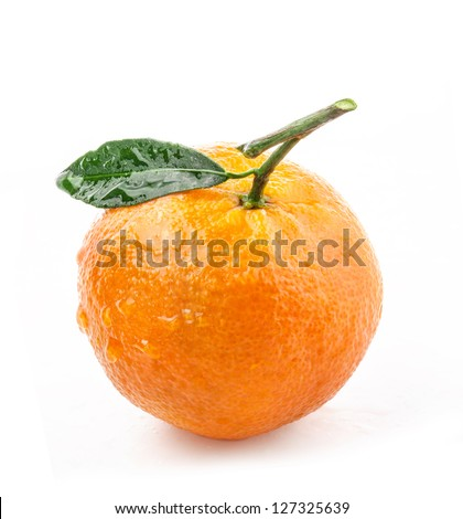 Tangerines with green leaves and water drops isolated on white background - stock photo