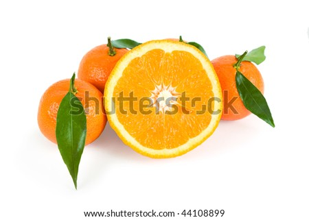 Tangerines with leaves and orange on a white background