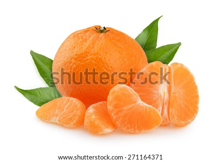 Tangerines with leaves and slices on white background - stock photo
