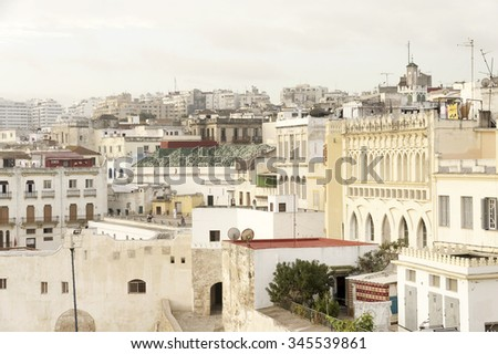 Tangier city and port, coastal landscape, Morocco, Africa - stock photo