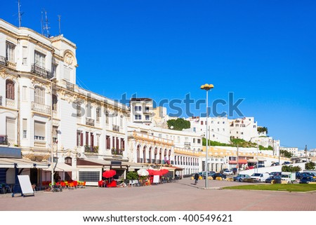 Tangier city center in Morocco. Tangier is a major city in northern Morocco. Tangier located on the North African coast at the western entrance to the Strait of Gibraltar. - stock photo